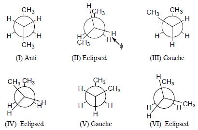 هيئات الألكانات : هيئات البيوتان