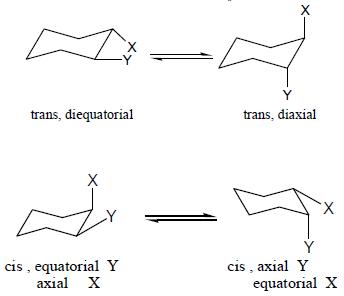 هيئة الألكانات الحلقية : الوضع Cis و Trans في الهكسان الحلقي